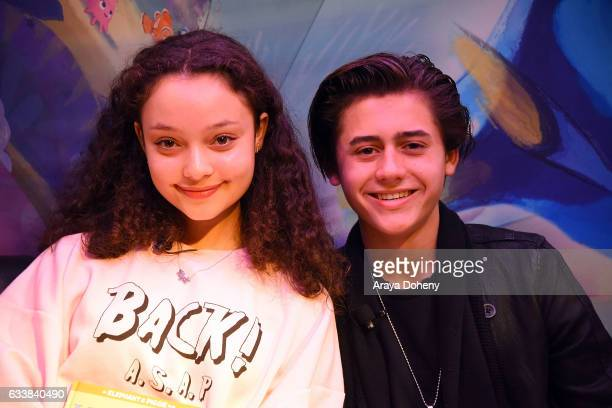 Kayla Maisonet and Isaak Presley attend the Disney Reads Day at the Disney Store on February 4 2017 in Glendale California