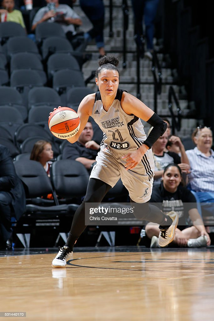 <a gi-track='captionPersonalityLinkClicked' href=/galleries/search?phrase=Kayla+McBride&family=editorial&specificpeople=9017392 ng-click='$event.stopPropagation()'>Kayla McBride</a> #21 of the San Antonio Stars defends the ball against the Atlanta Dream during the game on May 14, 2016 at AT&T Center in San Antonio, Texas.