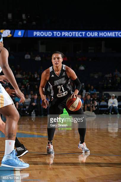 Kayla McBride of the San Antonio Stars handles the ball against the Chicago Sky during the game on August 17 2014 at the Allstate Arena in Rosemont...