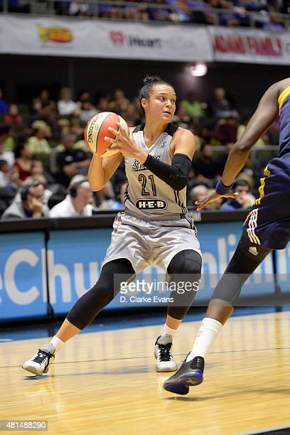 Kayla McBride of the San Antonio Stars handles the ball against the Indiana Fever on July 21 2015 at Freeman Coliseum in San Antonio Texas NOTE TO...