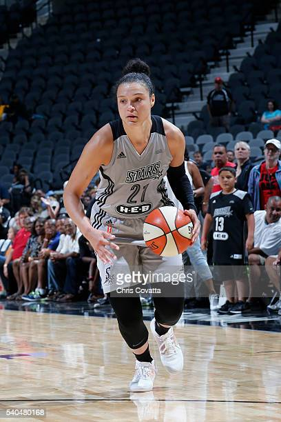 Kayla McBride of the San Antonio Stars handles the ball against the Seattle Storm on June 14 2016 at ATT Center in San Antonio Texas NOTE TO USER...