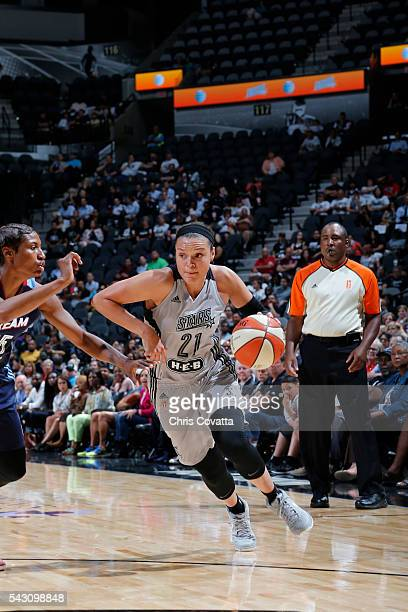 Kayla McBride of the San Antonio Stars handles the ball against the Atlanta Dream on June 25 2016 at the ATT Center in San Antonio Texas NOTE TO USER...