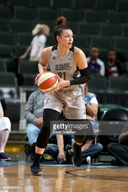 Kayla McBride of the San Antonio Stars handles the ball against the Minnesota Lynx on June 25 2017 at Xcel Energy Center in St Paul Minnesota NOTE TO...