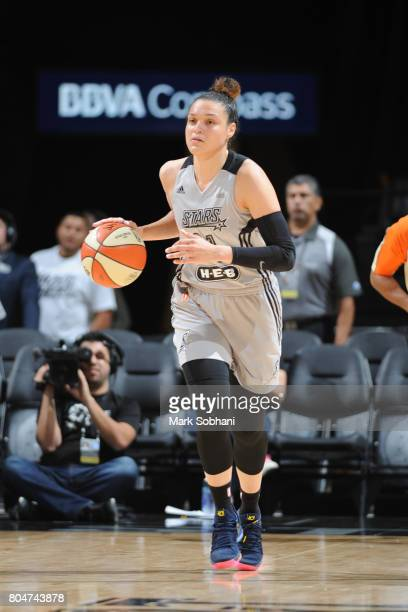 Kayla McBride of the San Antonio Stars handles the ball against the Chicago Sky on June 30 2017 at the ATT Center in San Antonio Texas NOTE TO USER...