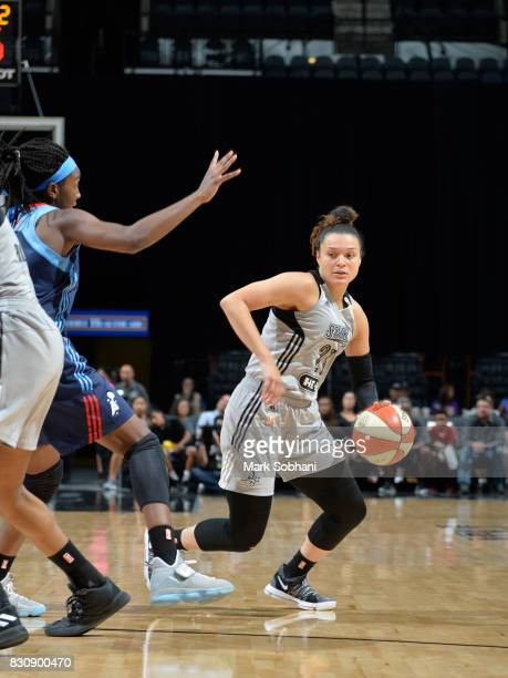 Kayla McBride of the San Antonio Stars handles the ball against the Atlanta Dream on August 12 2017 at the ATT Center in San Antonio Texas NOTE TO...