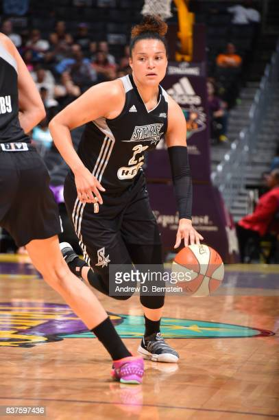 Kayla McBride of the San Antonio Stars handles the ball against the Los Angeles Sparks on August 22 2017 at the STAPLES Center in Los Angeles...