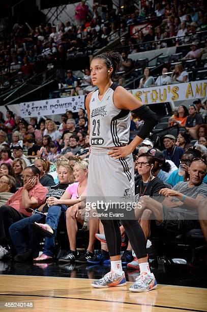 Kayla McBride of the San Antonio Stars on the court against the Los Angeles Sparks at the ATT Center on August 10 2014 in San Antonio Texas NOTE TO...