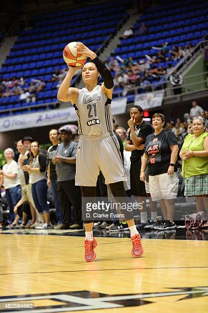 Kayla McBride of the San Antonio Stars shoots the ball against the Washington Mystics in the WNBA game on July 31 2015 at the Freeman Coliseum in San...