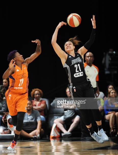 Kayla McBride of the San Antonio Stars shoots the ball against the Phoenix Mercury on July 7 2017 at the ATT Center in San Antonio Texas NOTE TO USER...