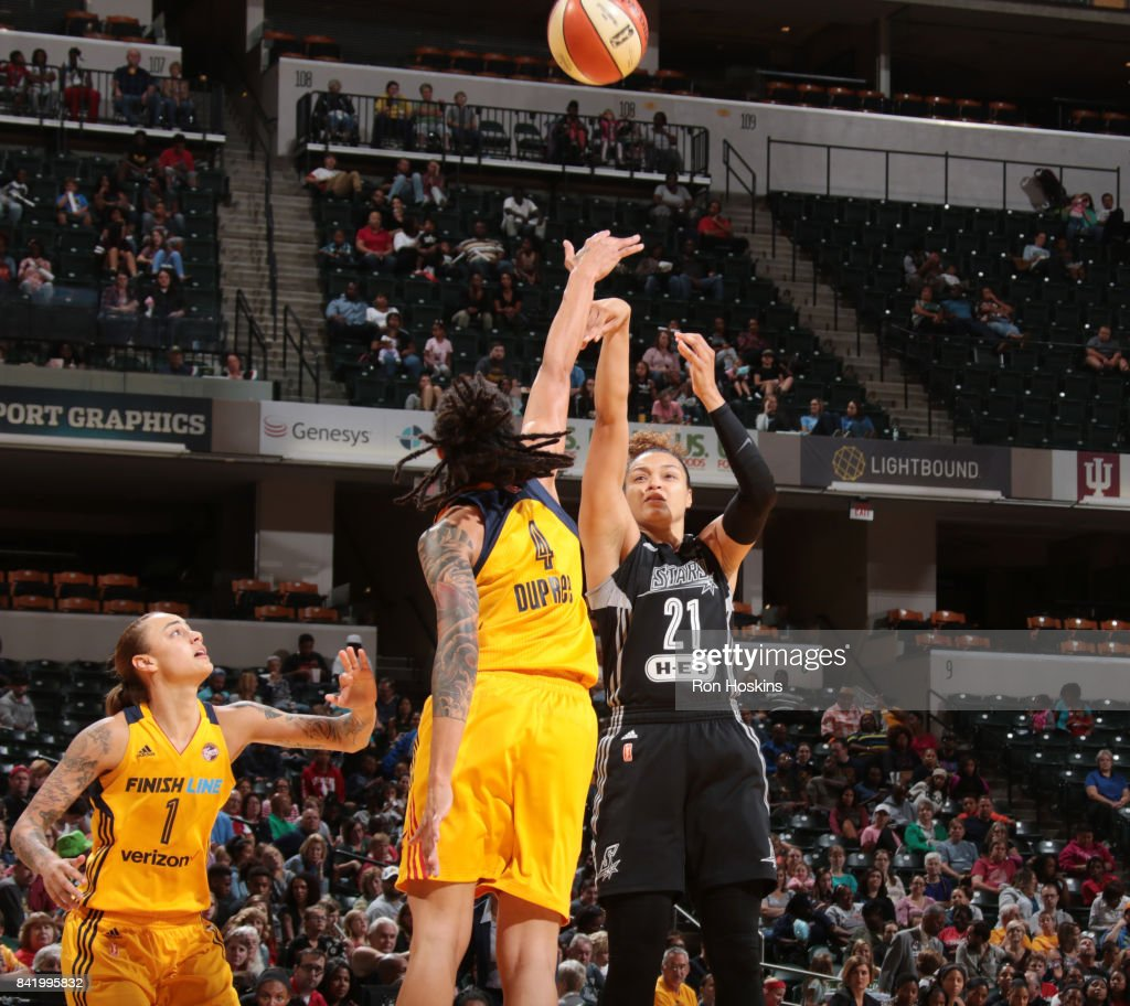 Kayla McBride #21 of the San Antonio Stars shoots the ball against the Indiana Fever on September 2, 2017 at Bankers Life Fieldhouse in Indianapolis, Indiana.