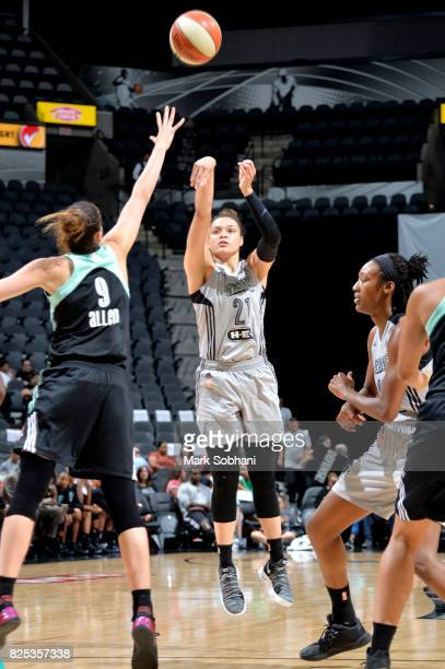 Kayla McBride of the San Antonio Stars shoots the ball during the game against the New York Liberty during a WNBA game on August 1 2017 at the ATT...
