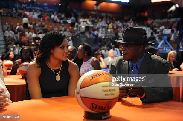 Kayla McBride talks with her father prior to the 2014 WNBA Draft Presented By State Farm on April 14 2014 at Mohegan Sun Arena in Uncasville...