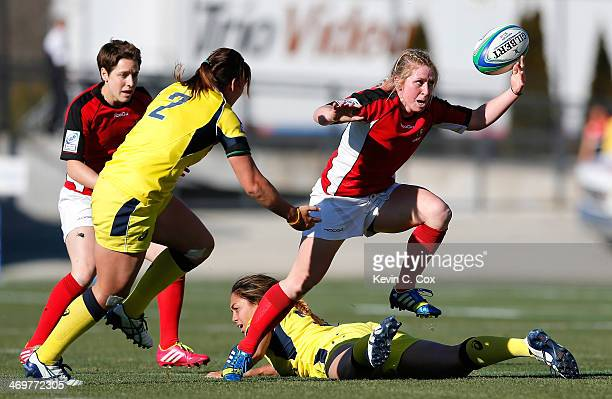 Kayla Moleschi of Canada loses the ball against Saofaiga Saemo and Sharni Williams of Australia during the Women's Sevens World Series at Fifth Third...