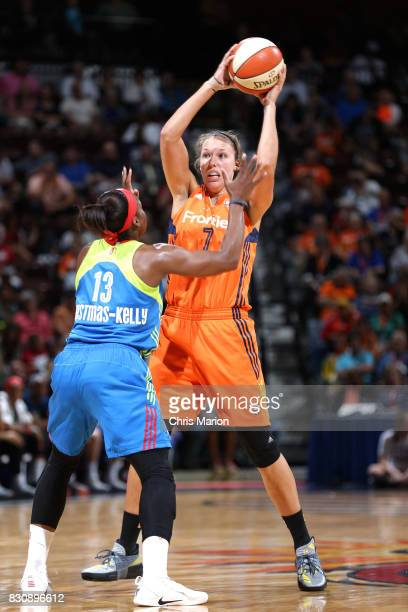 Kayla Pedersen of the Connecticut Sun passes the ball against the Dallas Wings on August 12 2017 at Mohegan Sun Arena in Uncasville CT NOTE TO USER...