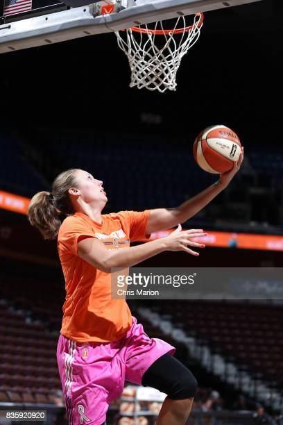 Kayla Pedersen of the Connecticut Sun shoots the ball before the game against the Phoenix Mercury on August 20 2017 at Mohegan Sun Arena in...