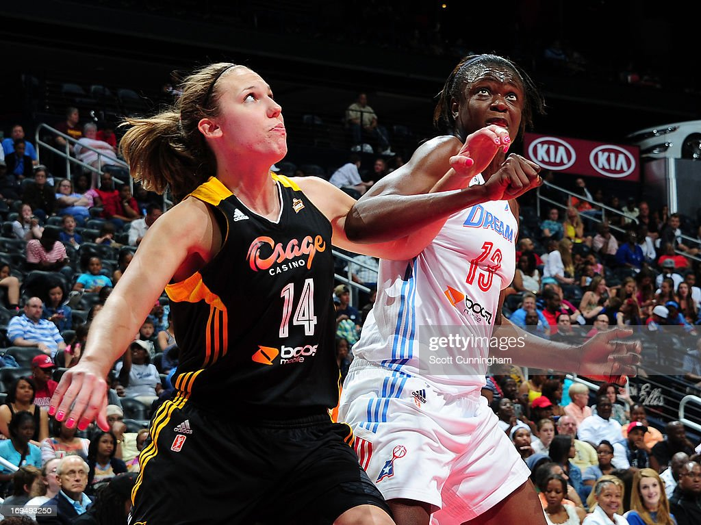 <a gi-track='captionPersonalityLinkClicked' href=/galleries/search?phrase=Kayla+Pedersen&family=editorial&specificpeople=4215872 ng-click='$event.stopPropagation()'>Kayla Pedersen</a> #14 of the Tulsa Shock boxes out against Aneika Henry #13 of the Atlanta Dream at Philips Arena on May 25, 2013 in Atlanta, Georgia.