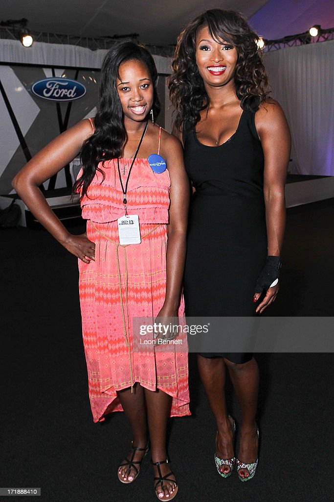 Kayla Rushing and <a gi-track='captionPersonalityLinkClicked' href=/galleries/search?phrase=Toccara+Jones&family=editorial&specificpeople=2253497 ng-click='$event.stopPropagation()'>Toccara Jones</a> attends the BET & Make A Wish Foundation Recipient Kayla Rushing's Wish To Attend BET Awards Weekend at on June 28, 2013 in Los Angeles, California.