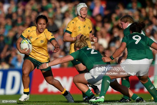 Kayla Sauvao Australia is tackled by Cliodhna Moloney of Ireland during the Women's Rugby World Cup 2017 match between Ireland and Australia on...