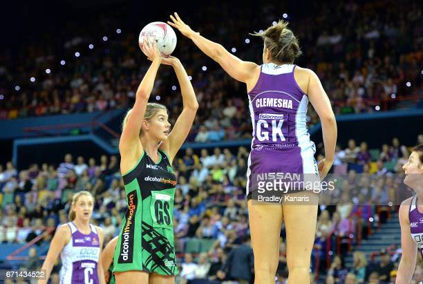 Kayla Stanton of the Fever shoots during the round nine Super Netball match between the Firebirds and the Fever at Brisbane Entertainment Centre on...