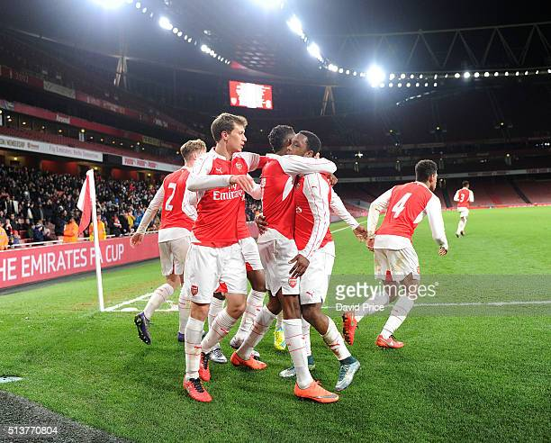 Kaylen Hinds celebrates scoring Arsenal's 2nd goal with Krystain Bielik during the match between Arsenal U18 and Liverpool U18 in the FA Youth Cup...
