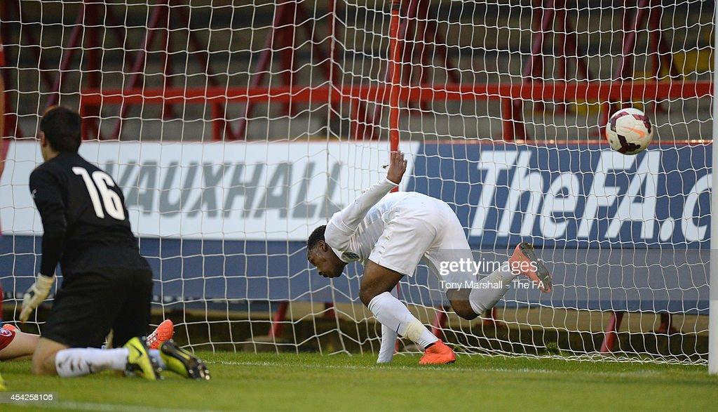 Kaylen Hinds of England scores their first goal during the Under 17 International match between England U17 and Czech Republic U17 at Aggborough Stadium on August 27, 2014 in Kidderminster, England.