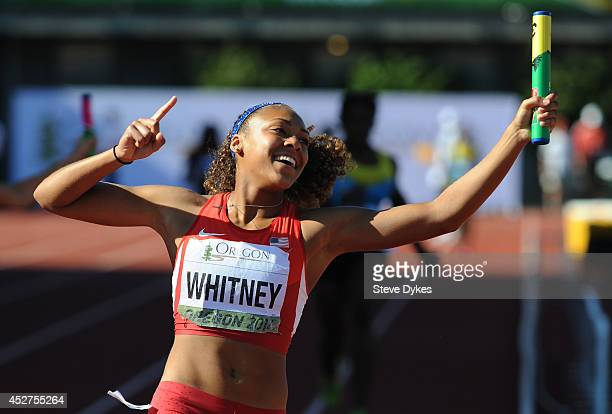 Kaylin Whitney of US celebrates after running the anchor leg and winning the women's 4X100m relay final during day five of the IAAF World Junior...