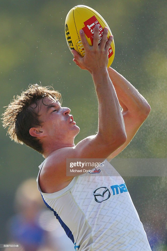 Kayne Turner of the Kangaroos marks the ball during the North Melbourne AFL Intra-Club match at Arden Street Ground on February 12, 2016 in Melbourne, Australia.