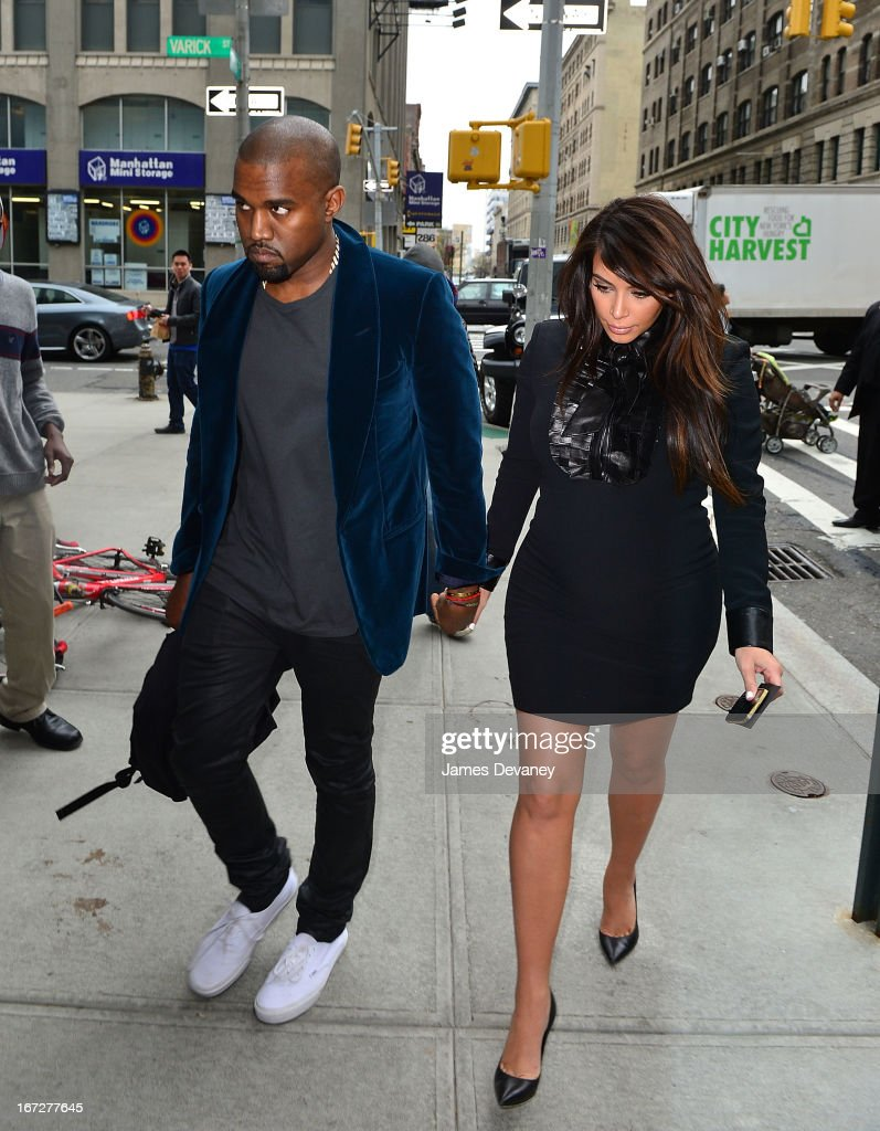 Kayne West and <a gi-track='captionPersonalityLinkClicked' href=/galleries/search?phrase=Kim+Kardashian&family=editorial&specificpeople=753387 ng-click='$event.stopPropagation()'>Kim Kardashian</a> seen on the streets of Manhattan on April 23, 2013 in New York City.