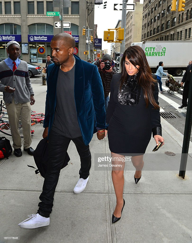 Kayne West and Kim Kardashian seen on the streets of Manhattan on April 23, 2013 in New York City.