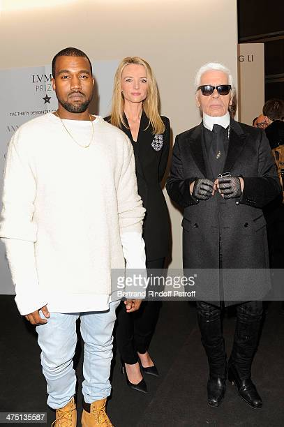 Kayne West Delphine Arnault and Karl Lagerfeld attend LVMH Prize SemiFinalists Designers Cocktail Party on February 26 2014 in Paris France