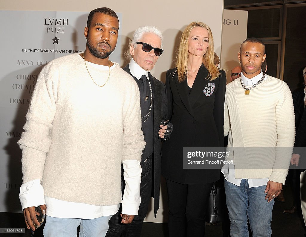 Kayne West, Karl Lagerfeld, Delphine Arnault and Hood By Hair designer attend the LVMH Prize Semi-Finalists Designers Cocktail Party on February 26, 2014 in Paris, France.