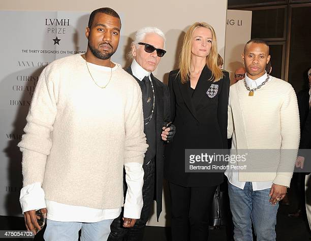 Kayne West Karl Lagerfeld Delphine Arnault and Hood By Hair designer attend the LVMH Prize SemiFinalists Designers Cocktail Party on February 26 2014...