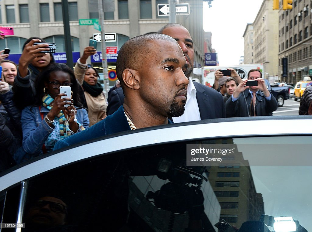 Kayne West seen on the streets of Manhattan on April 23, 2013 in New York City.