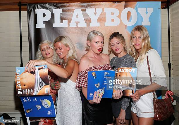 Kayslee Collins Paige Elkington and Eddie Mitsou Pettersson celebrate the release of Playboy magazine's 'The Freedom Issue' at No Vacancy on June 23...