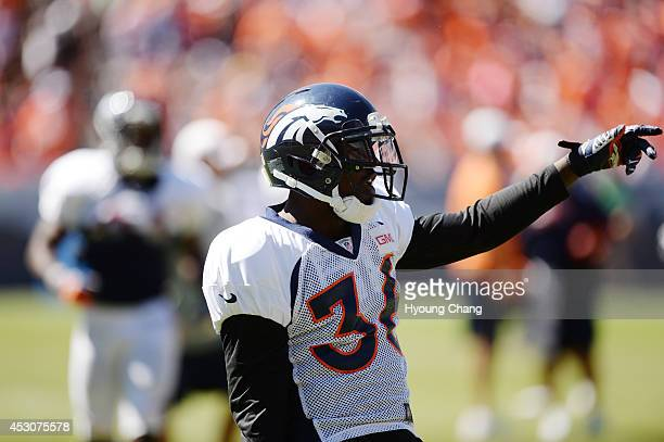 Kayvon Webster of Denver Broncos is in Sports Authority Field at Mile High for the Broncos scrimmage Denver Colorado August 02 2014
