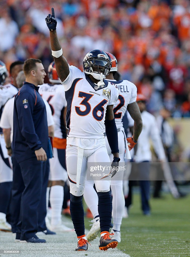 <a gi-track='captionPersonalityLinkClicked' href=/galleries/search?phrase=Kayvon+Webster&family=editorial&specificpeople=6315925 ng-click='$event.stopPropagation()'>Kayvon Webster</a> #36 of the Denver Broncos celebrates after a Broncos first quarter touchdown against the Carolina Panthers during Super Bowl 50 at Levi's Stadium on February 7, 2016 in Santa Clara, California.