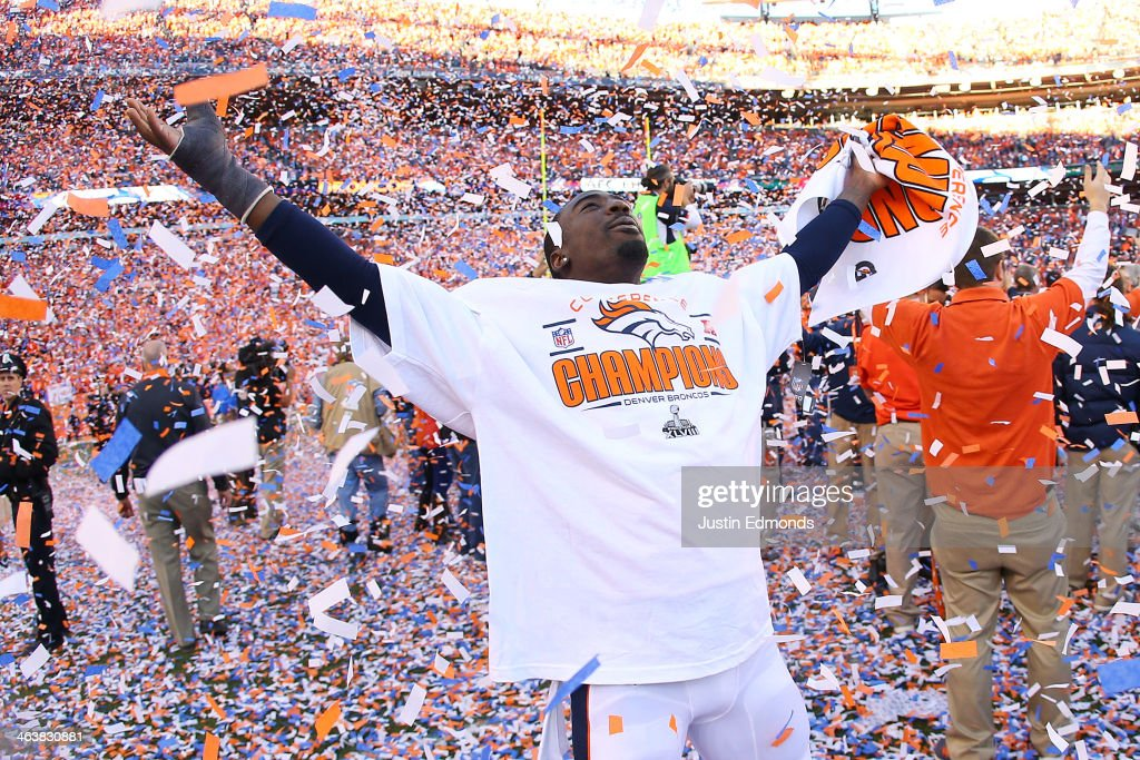 <a gi-track='captionPersonalityLinkClicked' href=/galleries/search?phrase=Kayvon+Webster&family=editorial&specificpeople=6315925 ng-click='$event.stopPropagation()'>Kayvon Webster</a> #36 of the Denver Broncos celebrates their 26 to 16 win over the New England Patriots during the AFC Championship game at Sports Authority Field at Mile High on January 19, 2014 in Denver, Colorado.