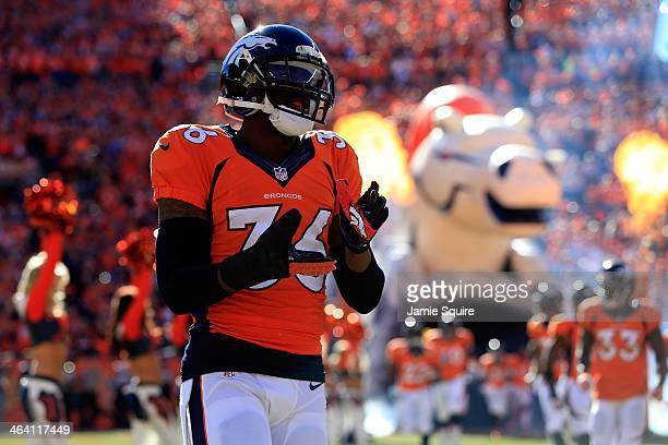 Kayvon Webster of the Denver Broncos runs on the field prior the AFC Championship game against the New England Patriots at Sports Authority Field at...