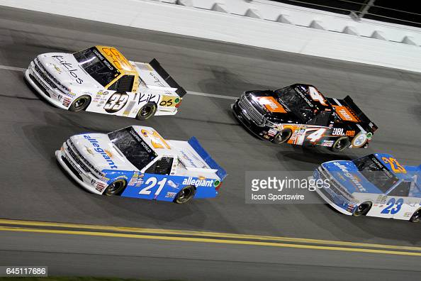 Kaz Grala and Johnny Sauter lead the field to the start of NASCAR Camping World Truck Series NextEra Energy Resources 250 on February 24 at Daytona...