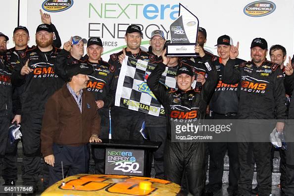 Kaz Grala driver of the Kiklos Chevy celebrates winning NASCAR Camping World Truck Series NextEra Energy Resources 250 on February 24 at Daytona...
