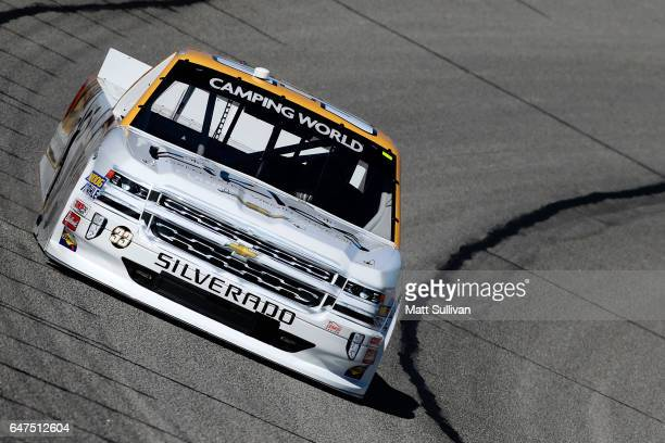 Kaz Grala driver of the Kiklos Greek Extra Virgin Olive Oil Chevrolet practices for the NASCAR Camping World Truck Series Active Pest Control 200 at...