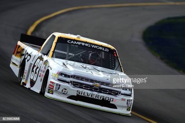 Kaz Grala driver of the Kiklos Greek Extra Virgin Olive Oil Chevrolet practices for the NASCAR Camping World Truck Series Overton's 150 at Pocono...