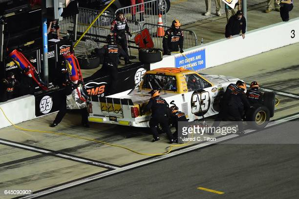 Kaz Grala driver of the KiklosGreekExtraVirginOliveOil Chevprolet its during the NASCAR Camping World Truck Series NextEra Energy Resources 250 at...