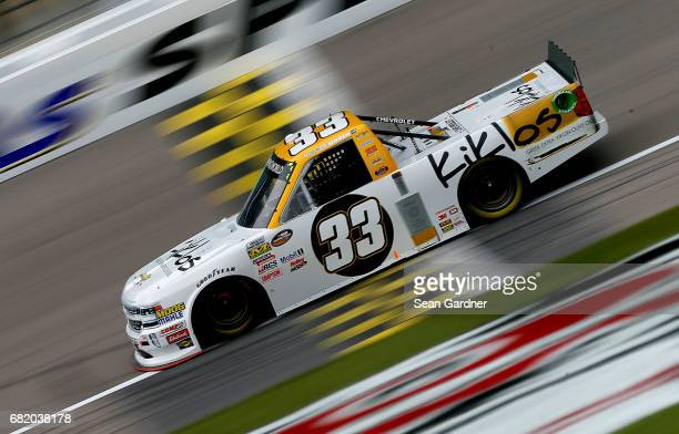 Kaz Grala driver of the Kilos Greek Extra Virgin Olive Oil Chevrolet drives his truck during practice for the NASCAR Camping World Truck Series...