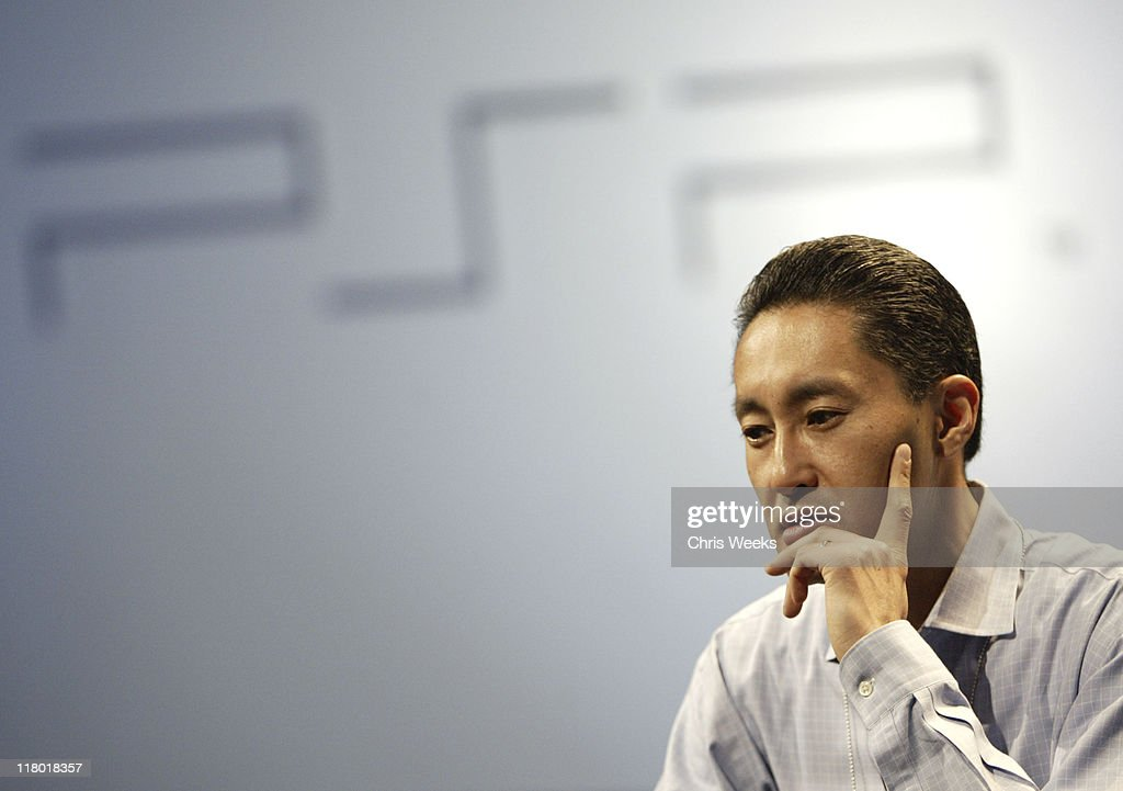 Kaz Hirai, president and CEO of Sony Computer Entertainment America, addresses the audience their press conference May 11, 2004 during Electronic Entertainment Expo 2004 in Los Angeles.