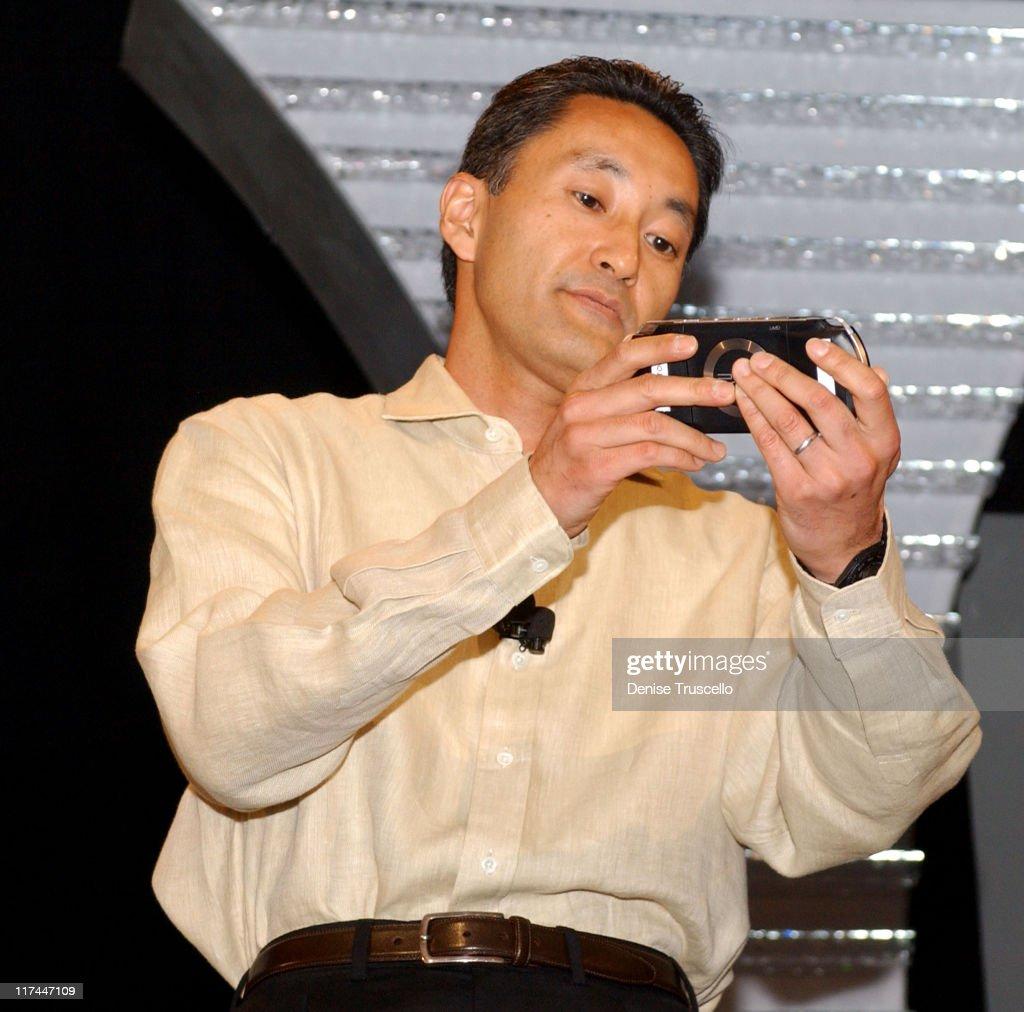 Kaz Hirai, president/CEO of Sony Computer Entertainment unveils the PSP Handheld Entertainment System