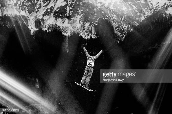 Kazahstan's Baglan Inkarbek soars during the Men's Freestyle Skiing Aerials qualifications at the Rosa Khutor Extreme Park during the Sochi Winter...