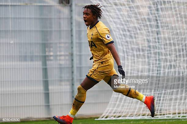 Kazaiah Sterling of Tottenham Hotspur celebrates as he scores their first goal during the UEFA Youth Champions League match between AS Monaco FC and...