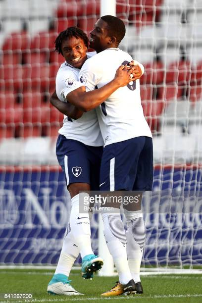 Kazaiah Sterling of Tottenham Hotspur celebrates scoring with team mate Shilow Tracey during the Premier League International Cup match between...
