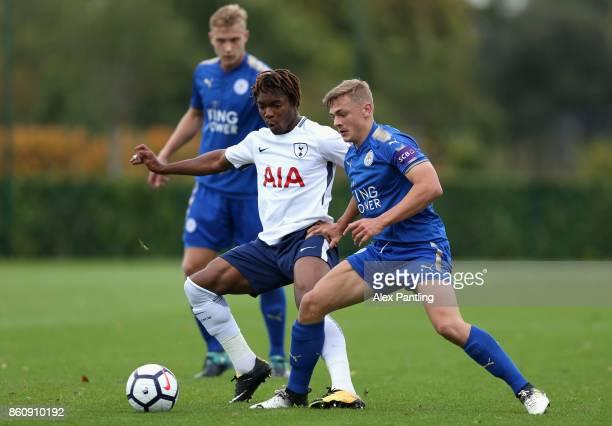 Kazaiah Sterling of Tottenham Hotspur is closed down by Kiernan DewsburryHall of Leicsester City during the Premier League 2 match between Tottenham...
